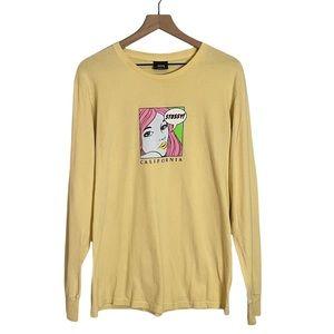 Vintage 90s Stussy California Pop Art Girl Graphic T-Shirt Long Sleeve Yellow MD